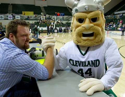 Matt Ludtke takes on and beats the Cleveland State Viking in arm wrestling.  I'm so proud to call Matt my assistant.