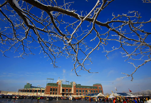 Snow hangs on the branches of a tree bordering the parking lot at Lambeau Field.
