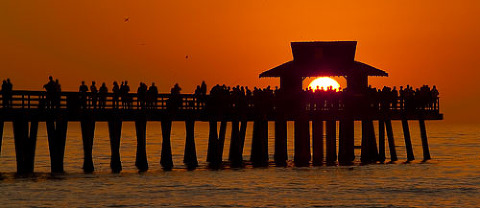 Sunset at the Naples pier.