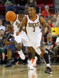 Milwaukee Bucks point guard Brandon Jennings takes off down court.