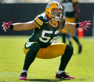 Green Bay Packers linebacker Clay Matthews celebrates a sack.