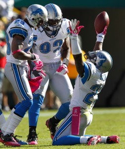 Detroit Lions cornerback Alphonso Smith celebrates
