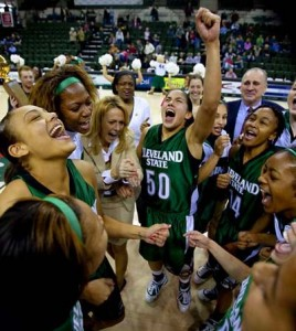 Cleveland State celebrates winning the Horizon League Women's Basketball Championship.