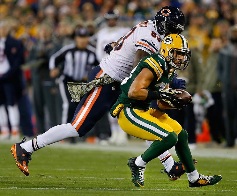 Green Bay Packers free safety Micah Hyde pulls in an interception from Chicago Bears quarterback Jay Cutler.