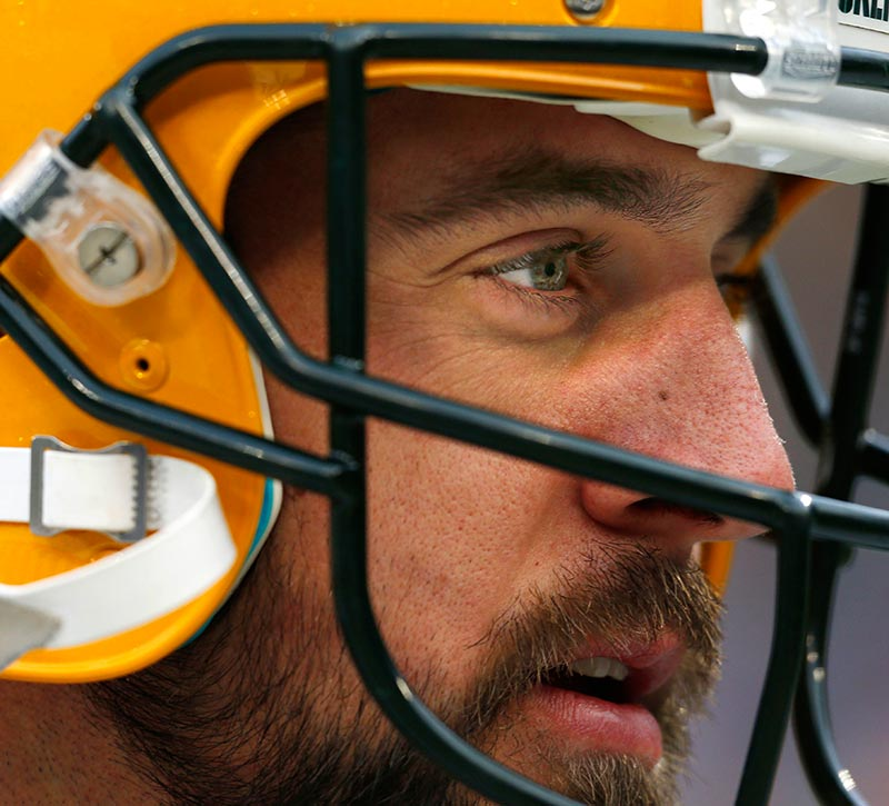 Green Bay Packers quarterback Aaron Rodgers during warmups.