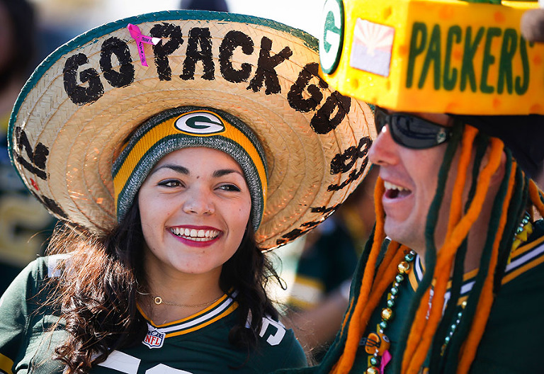 Green Bay Packers fans before the game.
