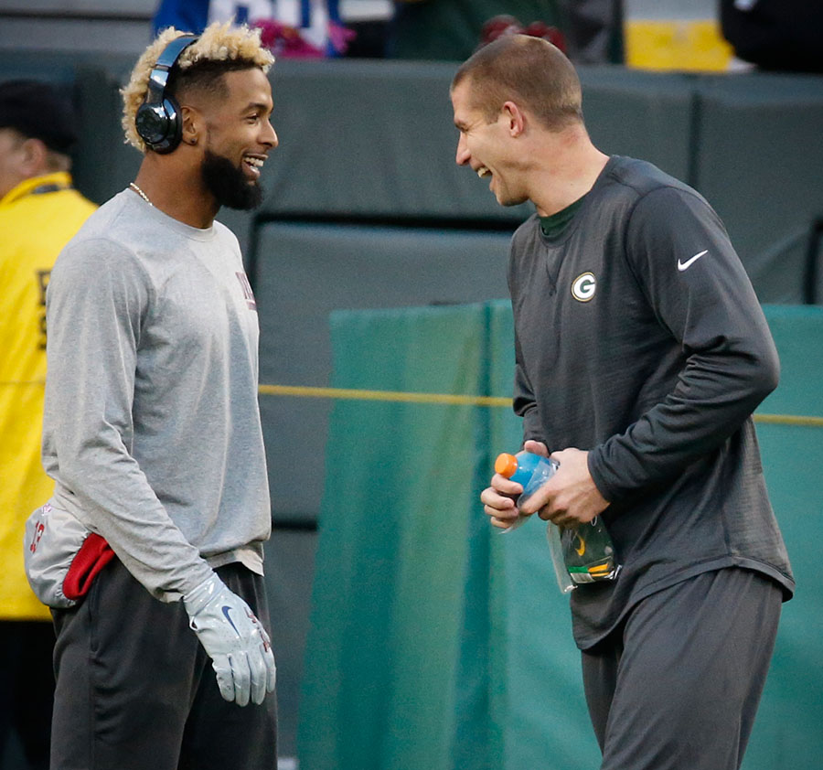 New York Giants wide receiver Odell Beckham and Green Bay Packers wide receiver Jordy Nelson share a laugh before the game.