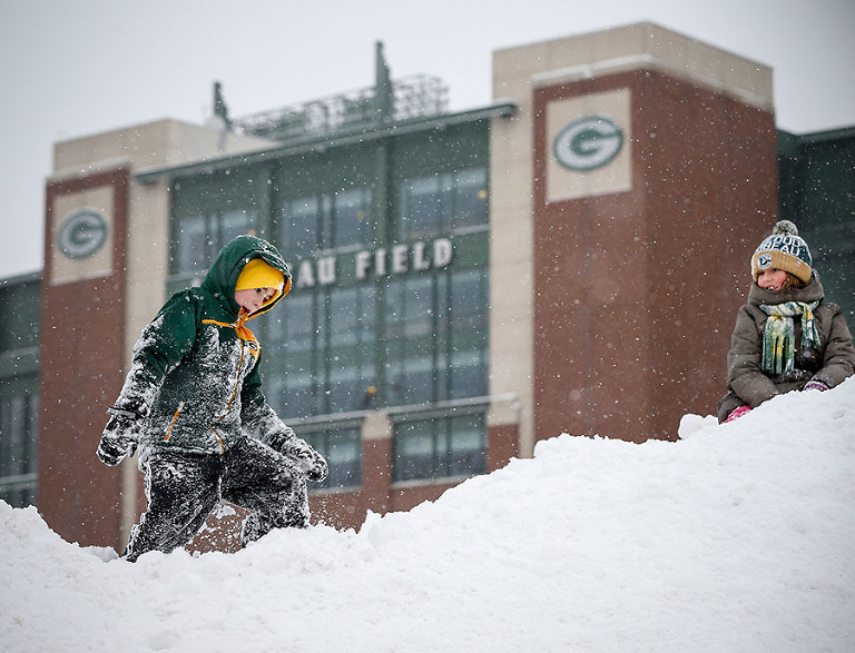 Nicholas Nesvacil Claire before an NFL football game Sunday, Dec. 11, 2016, in Green Bay, Wis. (AP Photo/Mike Roemer)