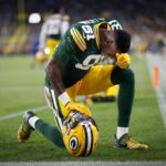 Green Bay Packers wide receiver Geronimo Allison prays before the game.
