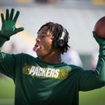 Green Bay Packers running back Jamaal Williams warms up before the game.