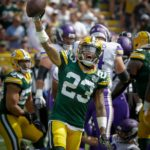 Green Bay Packers cornerback Jaire Alexander celebrates a defensive stop.