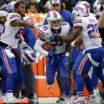 Buffalo Bills defensive back Jordan Poyer celebrates an interception.
