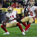 San Francisco 49ers Marquise Goodwin celebrates a touchdown.