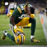 Green Bay Packers wide receiver Geronimo Allison prays before a game.