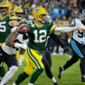 06 Packers Aaron Rodgers Lambeau Leap