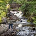Judy Roemer take a selfie at Amnicon Falls near Superior, Wisconsin.